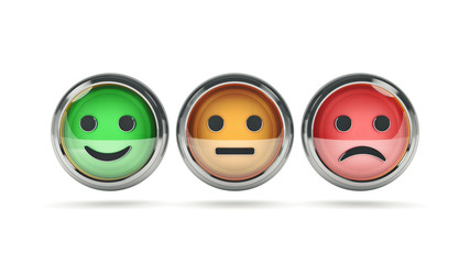 Smile / frown buttons for website. 3d rendering