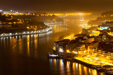 Douro River in Porto at Night