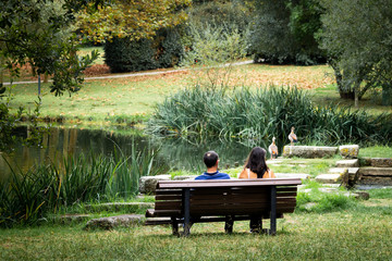 Couple Seated on the Bench in the Park