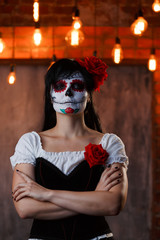 Picture of zombie woman with white make-up on face