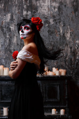 Photo of girl with white make-up and roses on face