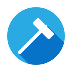 hammer icon with long shadow. Elements of constraction icon with long shadow. Signs and symbols collection icon with long shadow for websites, web design, mobile app