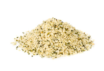 Stores photo Graine, aromate Heap of raw, organic hemp seeds over white