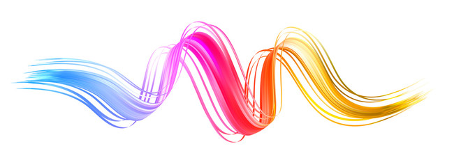 Colorful flow brush stroke. Ribbon isolated line.