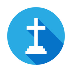 Grave, Christian Cross icon with long shadow. Element of kind or way of Suicide death illustration. Signs and symbols icon for websites, web design, mobile app