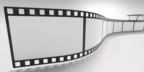 Film strip isolated on white background. 3D rendered illustration.
