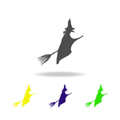 witch on a broomstick silhouette multicolored icons. Element of fairy-tale heroes illustration. Signs and symbols collection icon for websites, web, mobile on white background