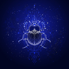 Vector illustration with hand drawn scarab and Sacred geometric symbol against the starry sky. Abstract mystic sign.