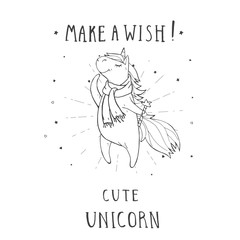 Vector illustration of hand drawn cute unicorn in scarf with stars, hearts,  and text – MAKE A WISH! On withe background. For print, t-shits, greeting cards, poster, children room decoration.