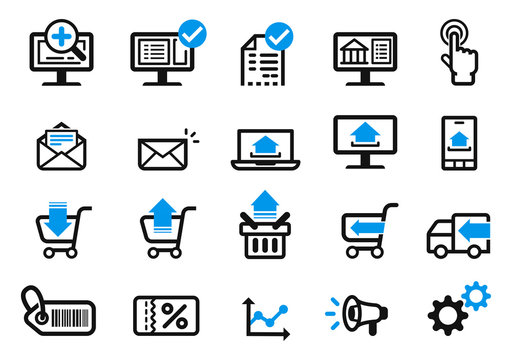 Shopping online easy delivery by technology at home (icon concept).
