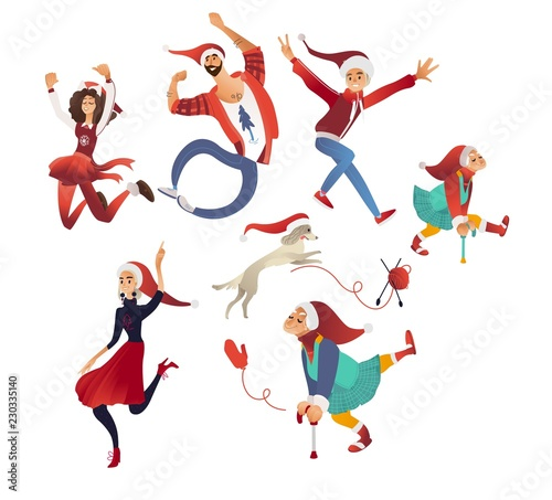 Christmas Dancing Cartoon.Vector Illustration Of Happy Christmas And New Year