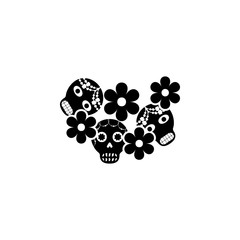 sugar skulls with flowers icon. Element of day dead icon for mobile concept and web apps. Detailed sugar skulls with flowers icon can be used for web and mobile