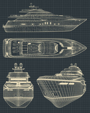 Drawings of a modern yacht