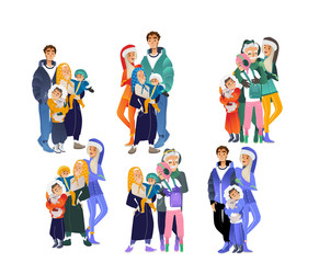 Vector cartoon big family hugging at winter outdoor clothing standing together set. Adult couple, senior parents, grandmother and grandfather, boy and girl teen kids, small baby happy characters