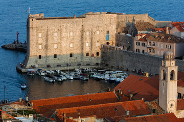 Fort of St. John in Dubrovnik, Croatia, dates back to the 16th century, guards the entrance to Dubrovnik's Old Harbor.
