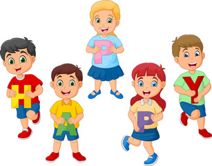 Cartoon kids holding letter with word HAPPY