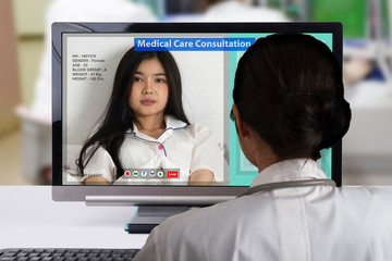 Wall Mural - Distance medical consultation using internet network technology.