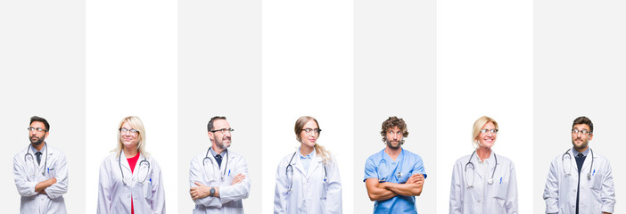 Collage of professional doctors over stripes isolated background smiling looking side and staring away thinking. Wall mural