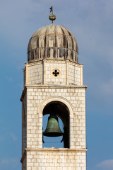 Dubrovnik, Croatia, July 31, 2018: City Bell Tower in Dubrovnik, Croatia, originated in the mid 15th Century, completely rebuilt in the 20th century in the Renaissance style with some Gothic elements