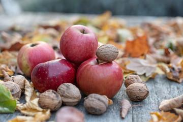 Äpfel mit Walnüssen liegen auf eine Tisch mit Pattina umgeben mit buntem Blättern