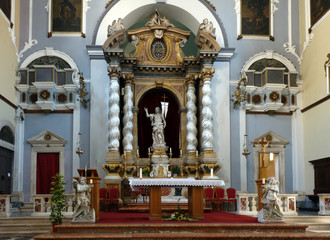 Main altar of the Franciscan Church and Monastery in Dubrovnik, Croatia with the resurrected Christ statue created by the sculptor Celia from Ancona in 1713.