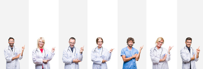 Collage of professional doctors over stripes isolated background with a big smile on face, pointing with hand and finger to the side looking at the camera.