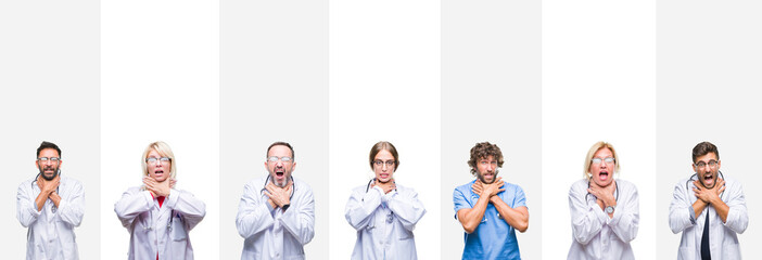 Collage of professional doctors over stripes isolated background shouting and suffocate because painful strangle. Health problem. Asphyxiate and suicide concept.