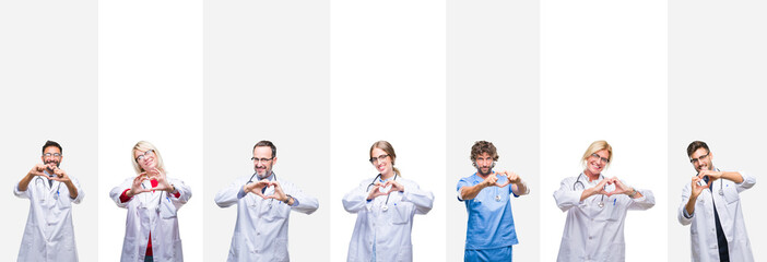 Collage of professional doctors over stripes isolated background smiling in love showing heart symbol and shape with hands. Romantic concept.