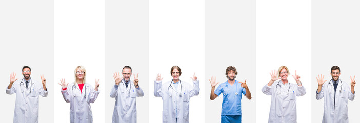 Collage of professional doctors over stripes isolated background showing and pointing up with fingers number seven while smiling confident and happy.