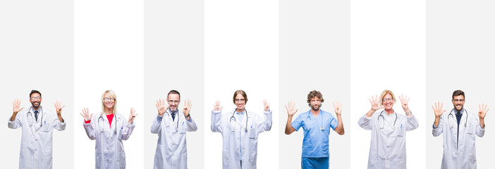 Collage of professional doctors over stripes isolated background showing and pointing up with fingers number nine while smiling confident and happy.