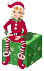 Elf assistant Santa sit on green Christmas box gift