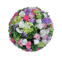 Artificial sphere of flower arrangement and decoration in ball shape isolated on white background for wedding and romantic theme design