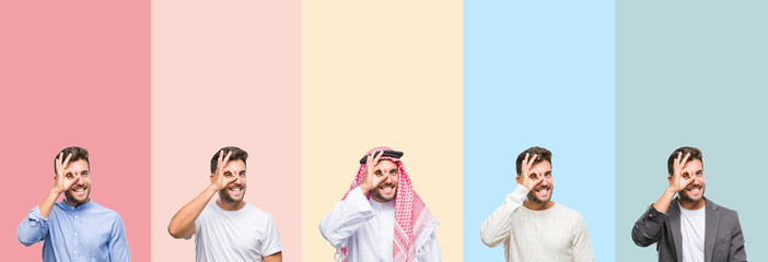 Collage of handsome young man over colorful stripes isolated background doing ok gesture with hand smiling, eye looking through fingers with happy face.