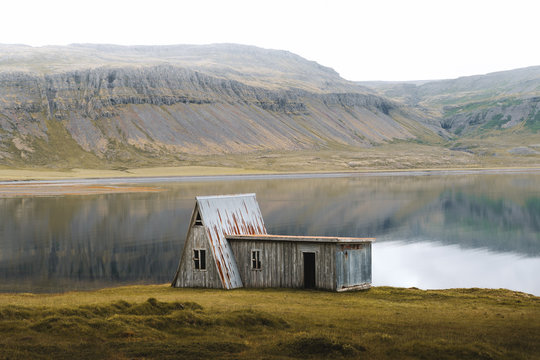 Wooden hut at lakeshore