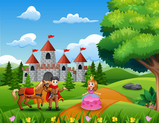 Cartoon princesses and princes in the castle page