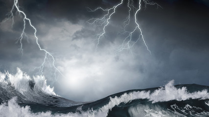 Stormy sea weather Wall mural