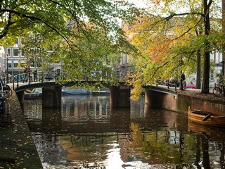 A bridge over the canal in Amsterdam, Netherlands