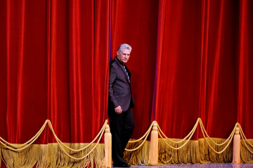 Cuba's President Miguel Diaz-Canel enters the stage during the opening ceremony of the 26th International Ballet Festival of Havana