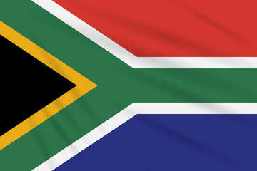 Flag South Africa swaying in wind realistic vector