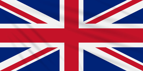 Flag Great Britain swaying in wind, vector