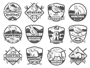 Hunt club wild animals and birds vector icons