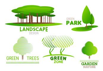 Landscaping design garden tree vector icons