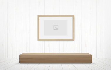 Picture frame and wooden bench in white room space background. Vector.