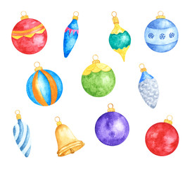 Set of Various Colorful Christmas Tree Decorations. Watercolor Hand Drawn and Painted. Isolated on White Background