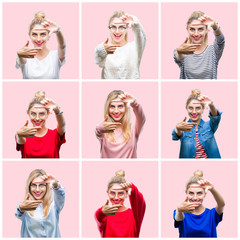 Collage of young beautiful blonde woman over pink isolated background smiling making frame with hands and fingers with happy face. Creativity and photography concept.