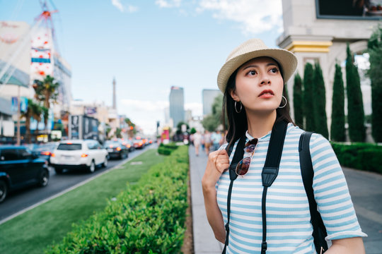 traveler curiously watching American city sight