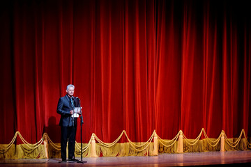 Cuba's President Miguel Diaz-Canel speaks during the opening ceremony of the 26th International Ballet Festival of Havana