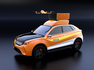 Quadcopter drone take off from orange electric rescue SUV on black background. 3D rendering image.