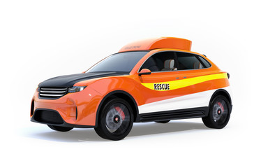 Orange electric rescue SUV isolated on white background. 3D rendering image.