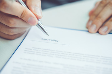 Sale agent and customer sign agreement contract, Insurance Home concept